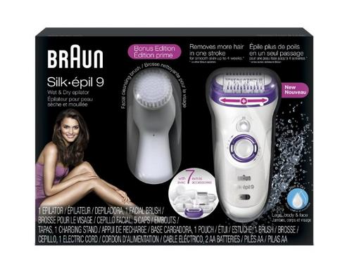 Braun Silk-epil 9 Wet and Dry Cordless Epilator with 7 Extras Facial Cleansing Brush