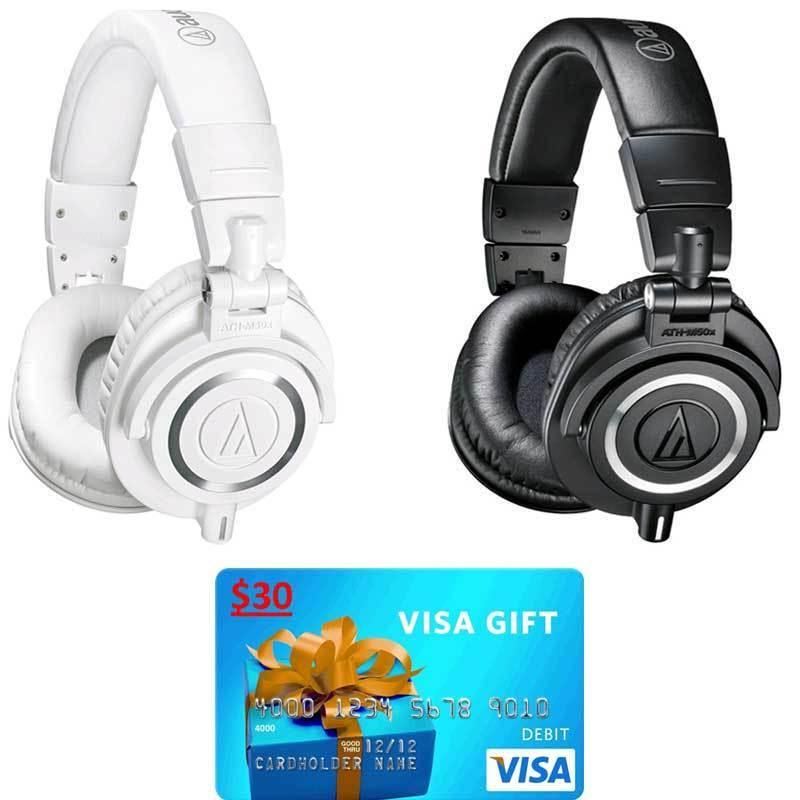$119 Audio-Technica ATH-M50X Professional Studio Headphones and $30 Visa Gift Card