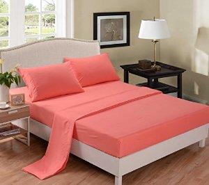 Honeymoon 1800T Brushed Microfiber 4PC Bedding Sheet Set, Sheet & Pillowcase Sets - Twin, Coral