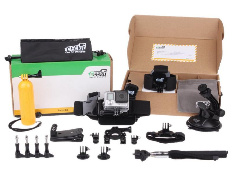 EEEKit Accessories Starter Kit Plus for All GoPro (Bike Clamp Car Mount, Selfie Pole, Head Chest Wrist Strap)