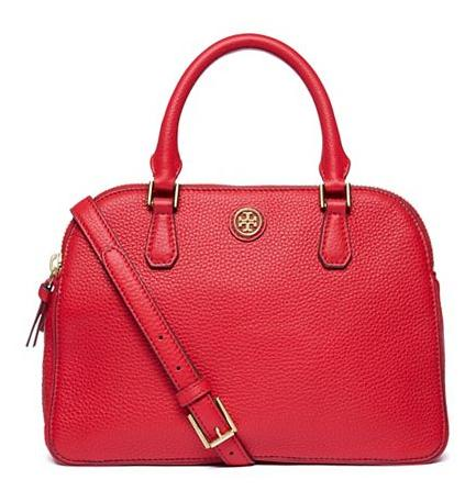 Tory Burch ROBINSON PEBBLED SMALL DOUBLE-ZIP SATCHEL