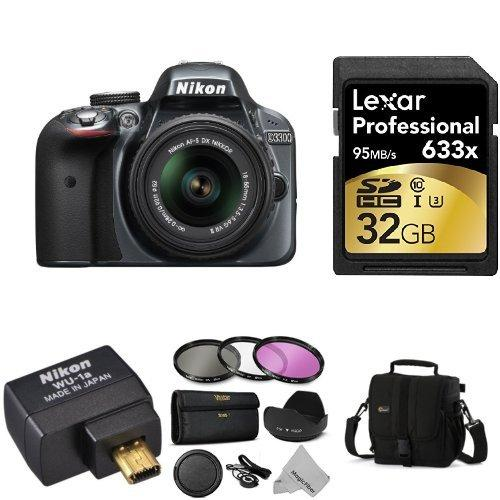 Nikon D3300 Wi-Fi Bundle with 18-55mm VR II Zoom Lens (Grey) + Accessories Including Wi-Fi Adapter