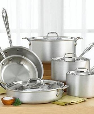 All-Clad 700362 MC2 Professional Master Chef 2 Stainless Steel Tri-Ply Bonded Cookware Set, 10-Piece, Silver