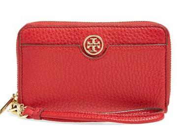Tory Burch 'Robinson' Pebbled Leather Smartphone Wristlet