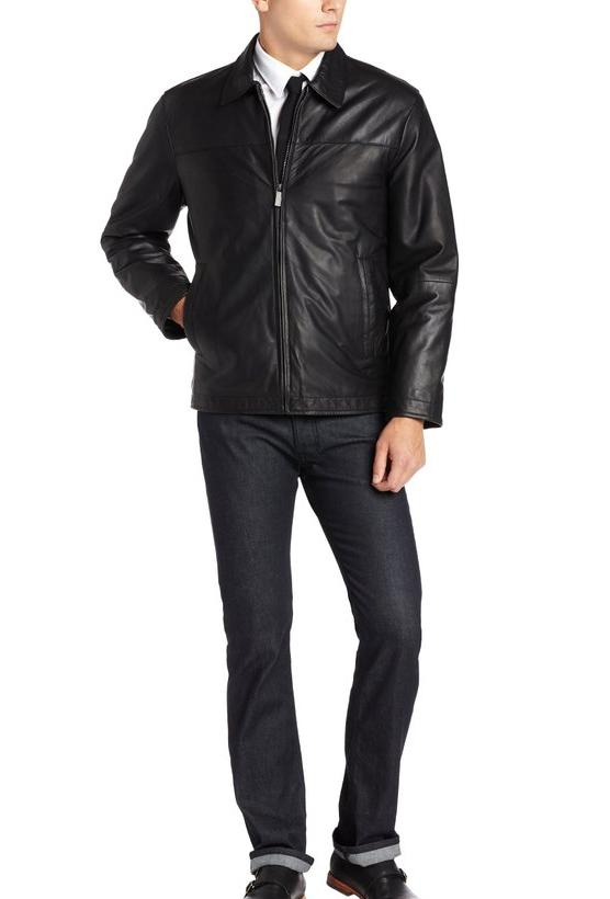 Perry Ellis Men's Lambskin Leather Open-Bottom Jacket