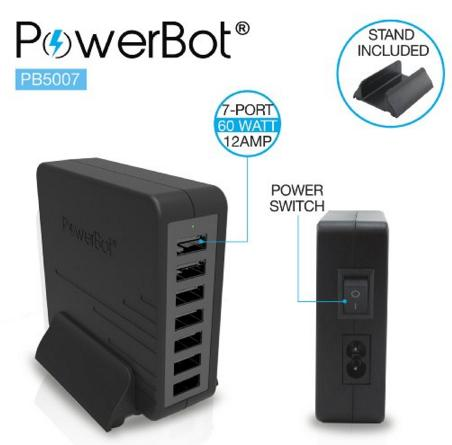 PowerBot PB5007 60W 12A 7USB Port Smart Quick Rapid Charger