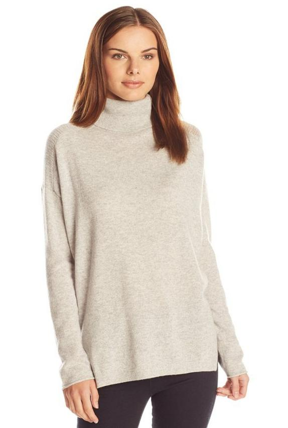 Lark & Ro Women's Cashmere Slouchy Turtleneck Sweater