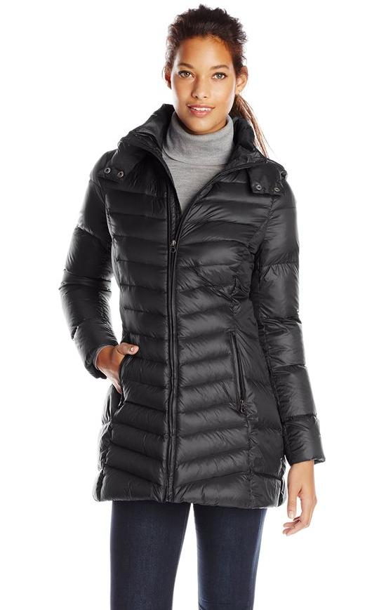 Tommy Hilfiger Women's Mid-Length Packable Down Coat with Hood @ Amazon.com