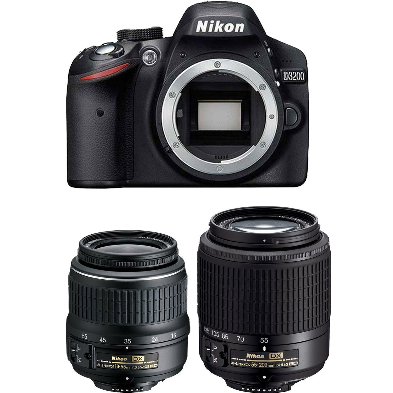 Nikon D3200 DSLR Camera with 18-55mm VR II and 55-200mm VR II Lenses