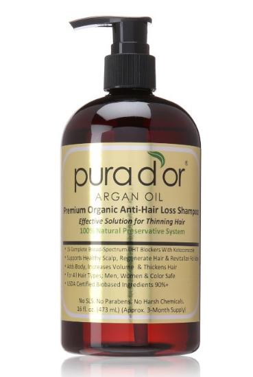 $24.87 Pura d'or Premium Organic Anti-Hair-Loss Shampoo with Argan Oil