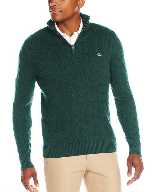 Lacoste Men's Long-Sleeve Cable-Knit Sweater