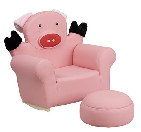 $48.99 Flash Furniture HR-32-GG Kids Pig Rocker Chair and Footrest