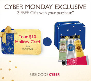 Cyber Monday Exclusive! Free $10 Gift Card +4 Mini Shea Hand Creams with any $50 Purchase @ L'Occitane