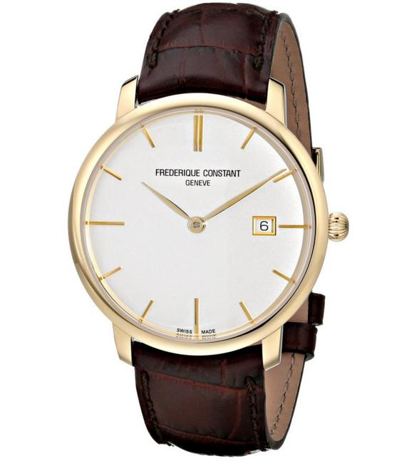 $999.99 Frederique Constant Men's FC306V4S5 Slim Line Analog Display Swiss Automatic Brown Watch
