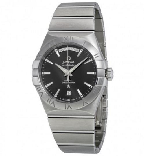 Cyber Monday Doorbusters---OMEGA Constellation Chronometer Black Dial Stainless Steel Men's Watch