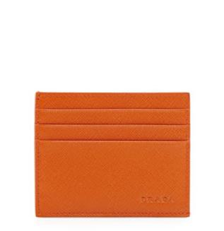 Prada Saffiano Card Case, Orange @ Neiman Marcus