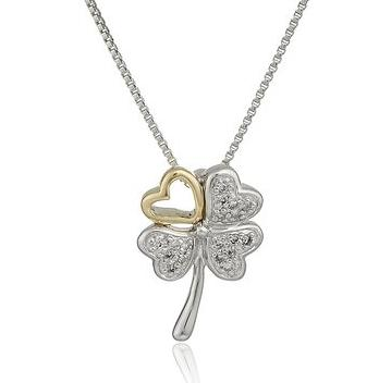 Sterling Silver and 14k Yellow Gold Leaf Clover with Heart Diamond Pendant Necklace (.09cttw)