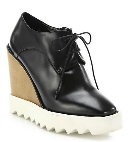 Stella McCartney Wood & Rubber-Platform Faux Leather Wedge Oxfords