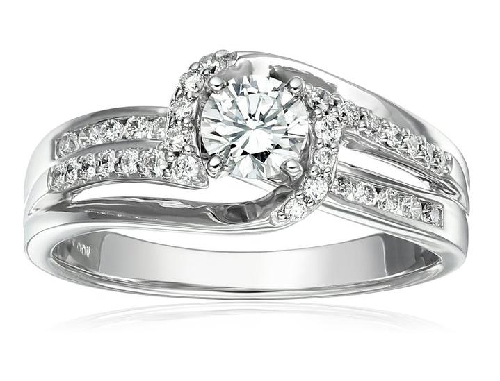 IGI Certified 14k White Gold Diamond Swirl Engagement Ring (5/8 cttw, H-I Color, I1-I2 Clarity)