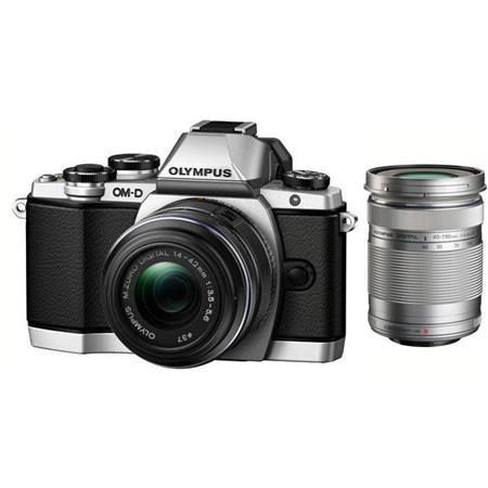 Olympus E-M10 Digital Camera with M.Zuiko 14-42mm f3.5-5.6 IIR Lens, Silver - Bundle With M. Zuiko ED 40-150mm f/4-5.6