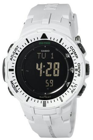 Casio Men's PRG-300-7CR Pro Trek Triple Sensor Tough Solar Digital Display Quartz White Watch