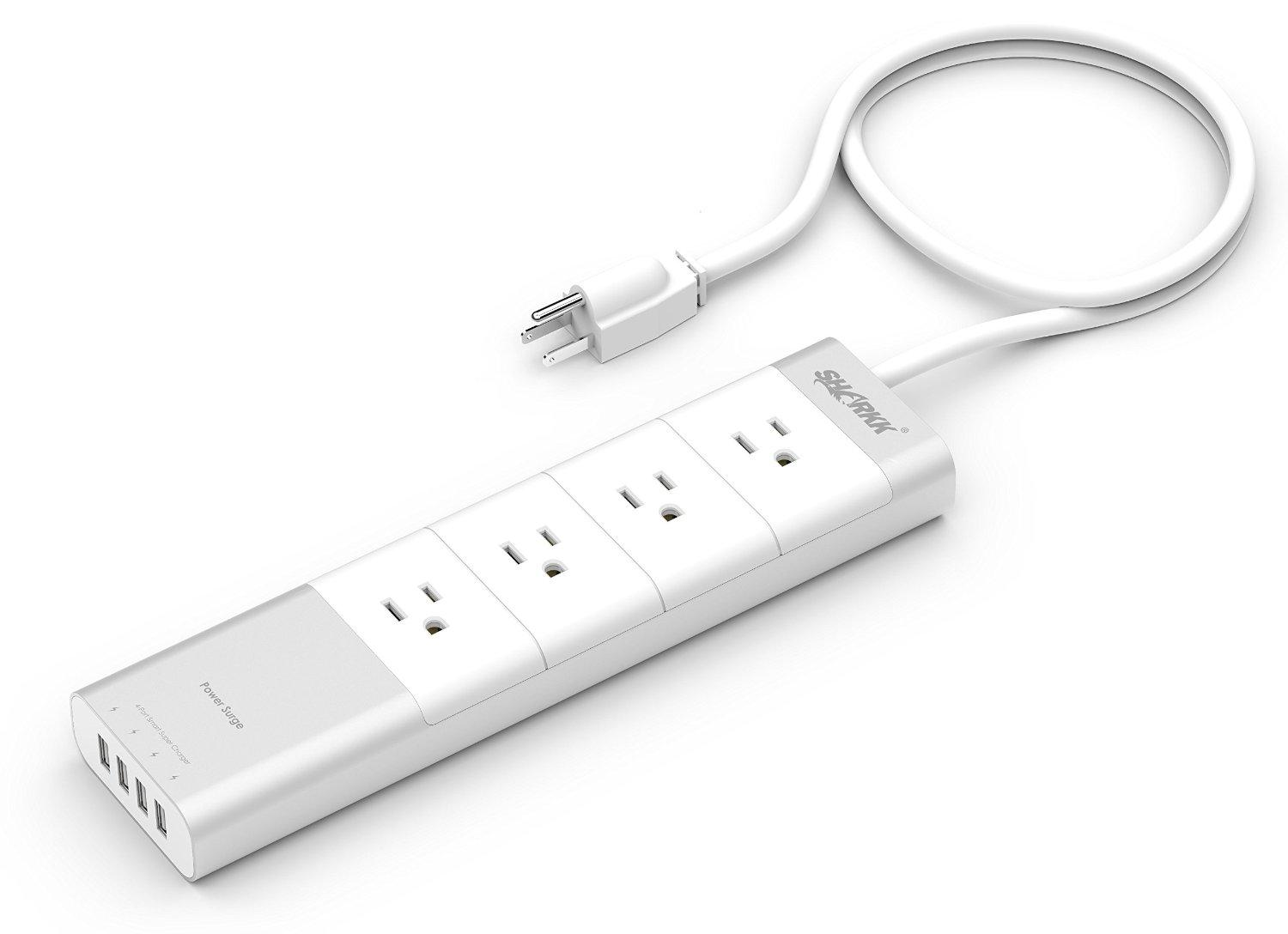 SHARKK® 4 Outlet Power Strip Home Office FireProof Surge Protector with 4 USB Smart Charge Ports