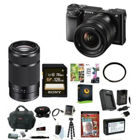 698.00 Sony Alpha a6000 Mirrorless Digital Camera (Black) with 16-50mm & 55-210mm Lenses and 128GB SDXC Accessory Bundle