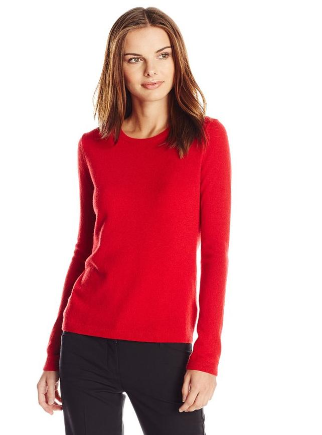Lark & Ro Women's Cashmere Slim-Fit Crew-Neck Sweater