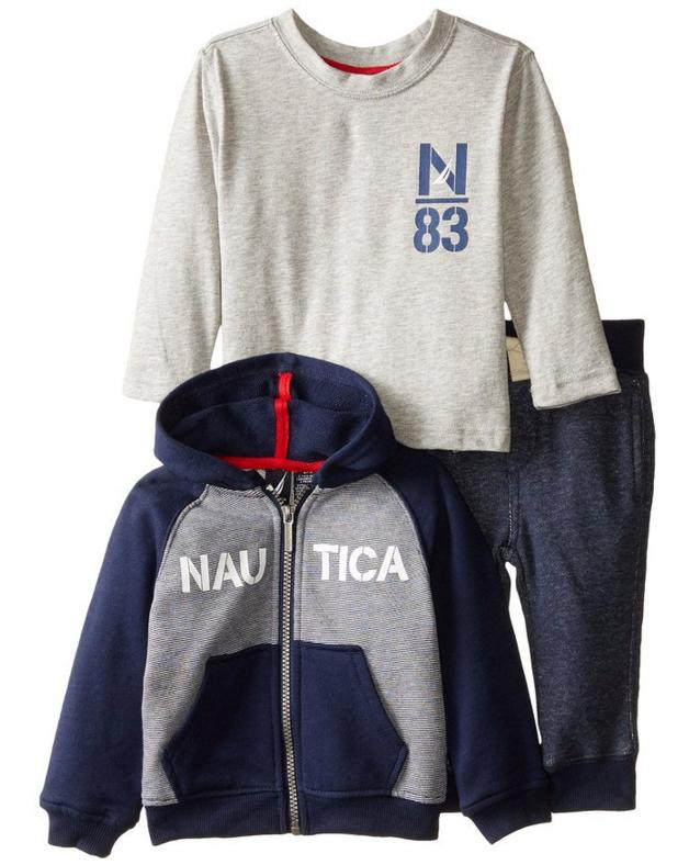 Nautica Baby Boys' 3 Piece Set Y/D Mini Stripe French Terry Jacket and Jogger
