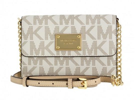 MICHAEL KORS Large Jet Set Travel Crossbody w/ Pocket for Smartphone - Vanilla