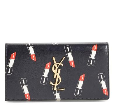 Saint Laurent 'Monogram Lipstick' Calfskin Leather Wallet