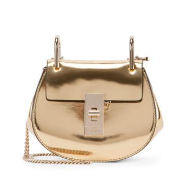 Chloe Drew Nano Mirror Leather Saddle Bag, Gold @ Neiman Marcus