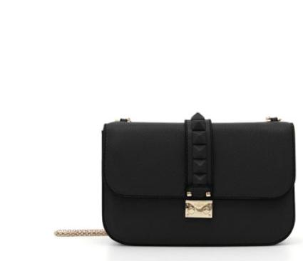 Valentino Tonal Rockstud Medium Flap Shoulder Bag, Black @ Neiman Marcus