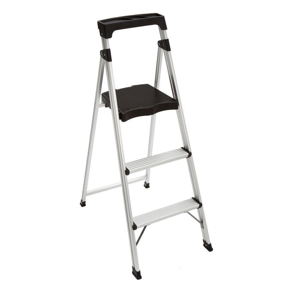 $14.98 3-Step Aluminum Ultra-Light Step Stool Ladder with 225 lb. Load Capacity