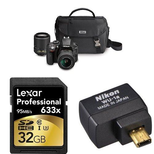 Nikon D3300 DSLR Camera with 18-55mm and 55-200mm VR II Lenses Case and Memory Card