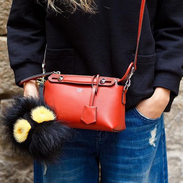 Fendi Small Croc-Tail By The Way Satchel Bag