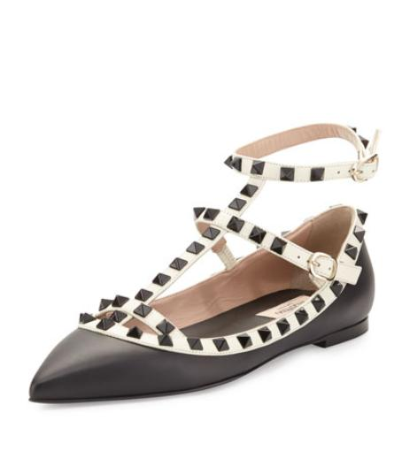 Valentino Rockstud Colorblock Leather Cage Flat