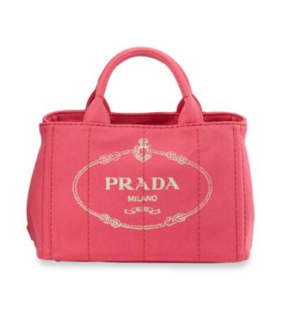 Prada Canvas Logo Tote with Strap