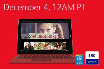 $200 off + $50 Gift Code Surface Pro 3 with Intel i3 Processor @ Microsoft Store