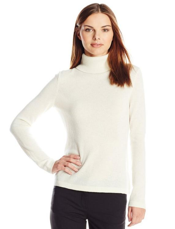 Lark & Ro Women's Cashmere Slim-Fit Turtleneck Sweater