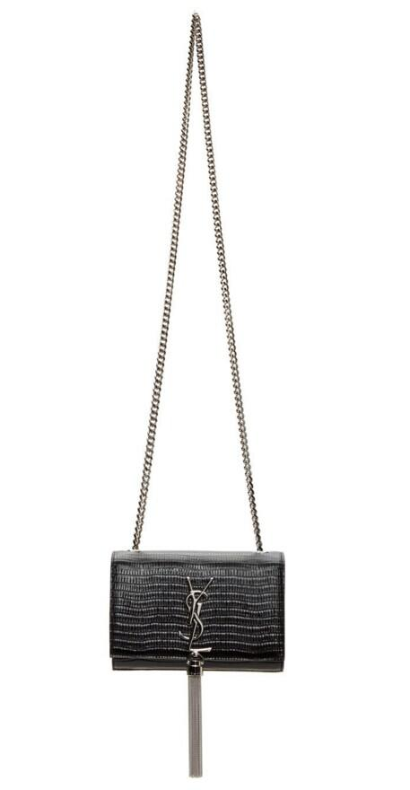 Saint Laurent Black Lizard-Embossed Small Monogramme Bag @ SSENSE
