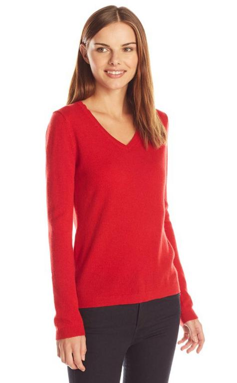 Lark & Ro Women's Cashmere Slim-Fit V-Neck Sweater
