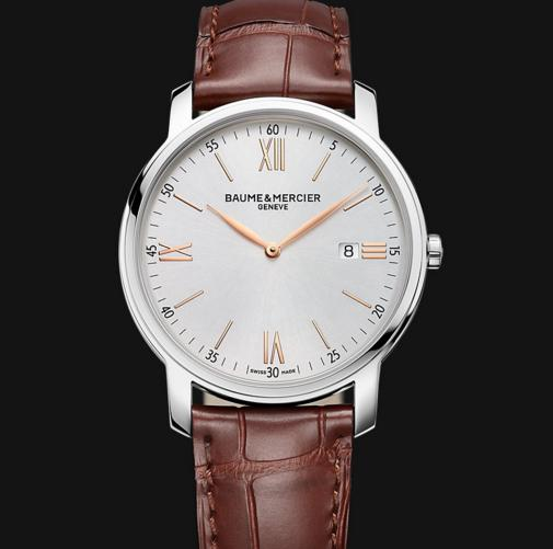 Lowest price! Baume et Mercier Classima Silver Dial Brown Leather Strap Men's Watch 10144