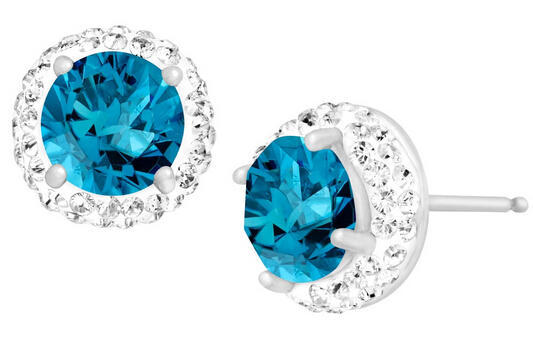 December Birthstone Earrings with Blue Topaz Swarovski Crystals