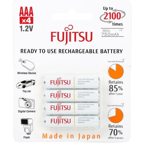Fujitsu 2 4-Pack AAA 2100 Cycle Ni-MH Pre-Charged Rechargeable Batteries