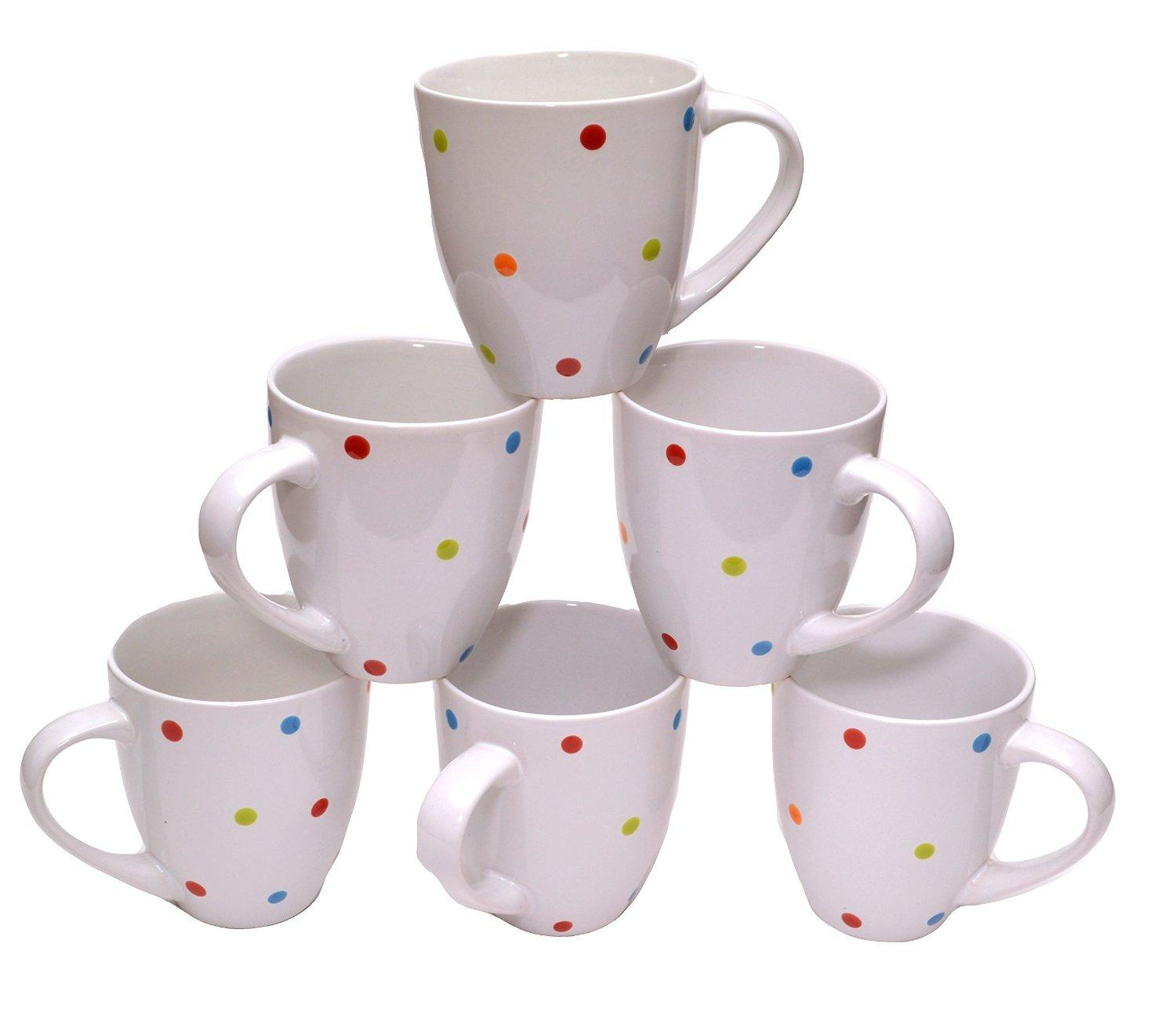 Francois et Mimi Large Ceramic Coffee Mugs, 16-Ounce, White Polka Dots, Set of 6