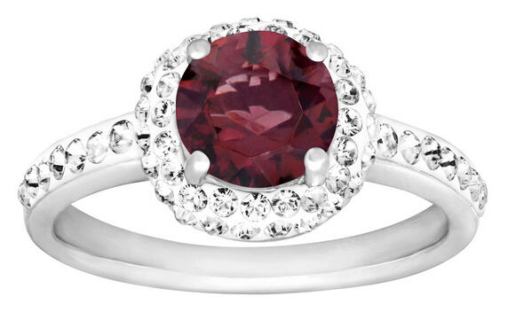 January Birthstone Ring with Garnet Swarovski Crystal