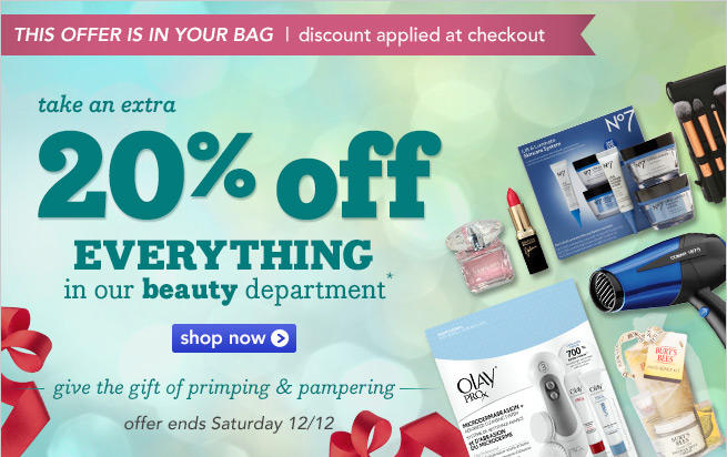 20% OFF Beauty Department @ Drugstore