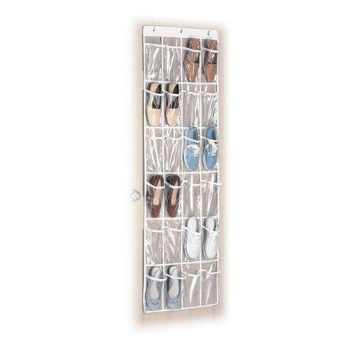 Whitmor 6044-13-CTF White Crystal Collection Over-The-Door Shoe Organizer