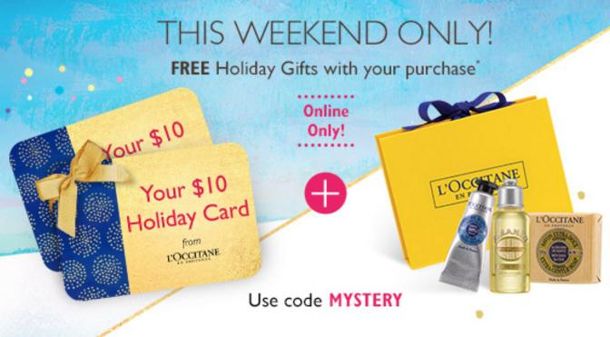 Free $10 Gift Card +3 Free Samples with any Purchase @ L'Occitane